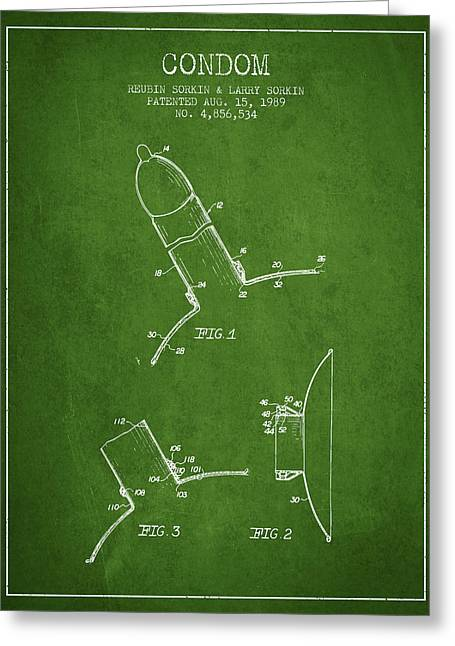 Intercourse Greeting Cards - Condom patent from 1989 - Green Greeting Card by Aged Pixel