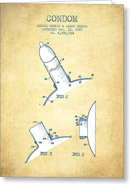 Pregnancy Greeting Cards - Condom patent from 1989 - Vintage Paper Greeting Card by Aged Pixel