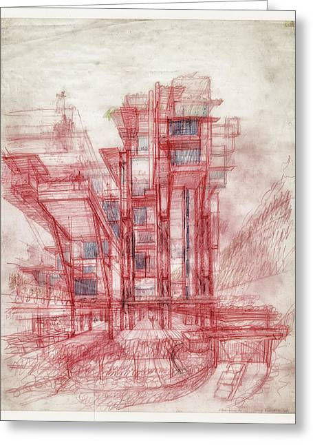 Historic Architecture Drawings Greeting Cards - Condominiums Hong Kong Sketch Greeting Card by Mountain Dreams