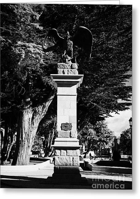 Condor Greeting Cards - condor monument of las sociedades mutuales Punta Arenas Chile Greeting Card by Joe Fox