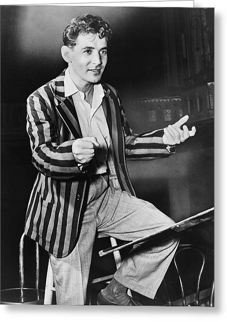 One Young Man Only Greeting Cards - Conductor Leonard Bernstein Greeting Card by Fred Palumbo