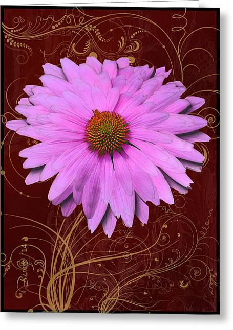 Cone Flower Dahlia Greeting Card by Larry Bishop