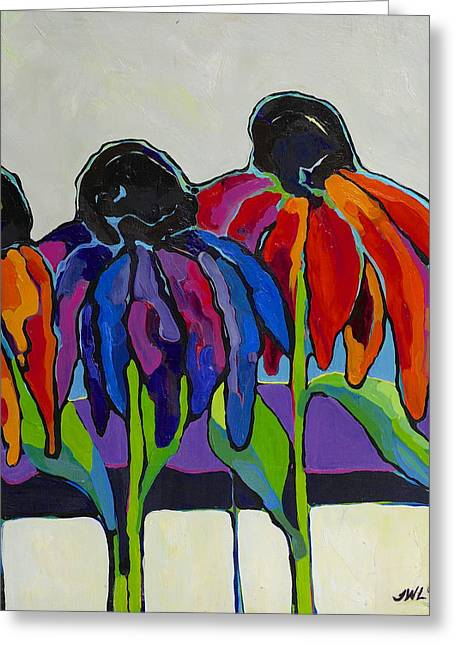 Abstracted Coneflowers Paintings Greeting Cards - Coneflower Greeting Card by Jessi West Lundeen