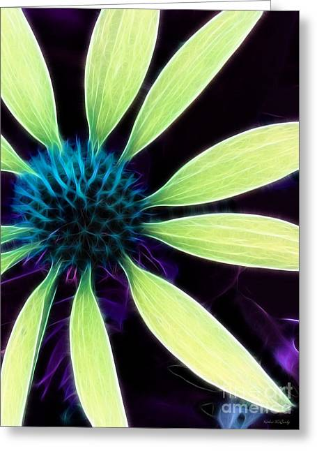 Abstracted Coneflowers Greeting Cards - Coneflower Lime Abstract Greeting Card by Kathie McCurdy