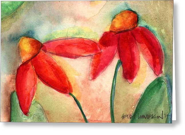 Abstracted Coneflowers Paintings Greeting Cards - Coneflowers II Greeting Card by Heidi Lumpkin