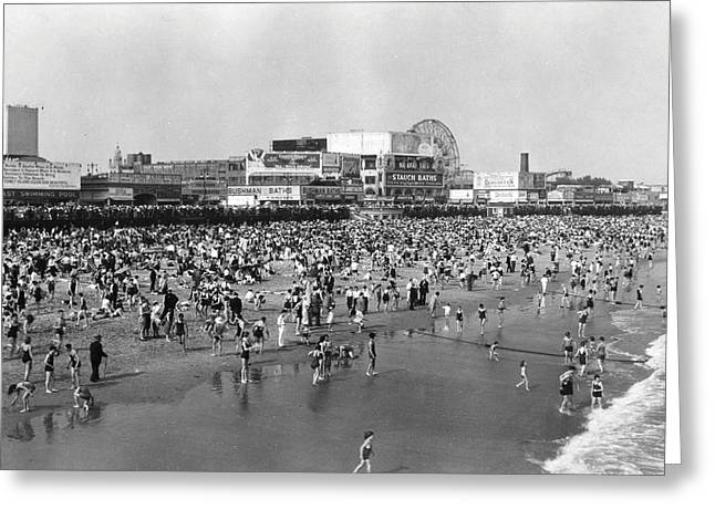 Amusement Park Greeting Cards - Coney Island - Beach Scene Greeting Card by MMG Archives