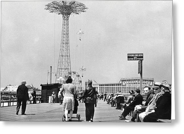 Coney Island Greeting Cards - Coney Island - Boardwalk and Parachute Jump Greeting Card by MMG Archives