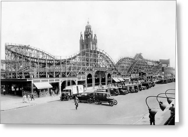 Coney Island Greeting Cards - Coney Island - Bobs Tornado Roller Coaster Greeting Card by MMG Archives