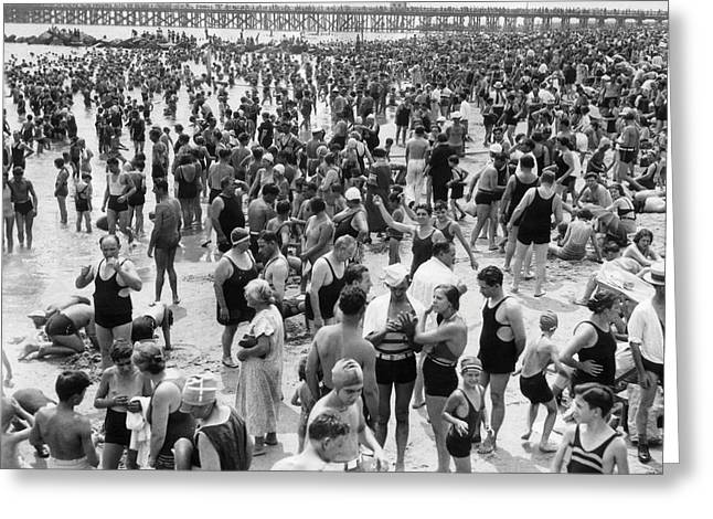 Coney Island - Brighton Beach Patrons Greeting Card by MMG Archives