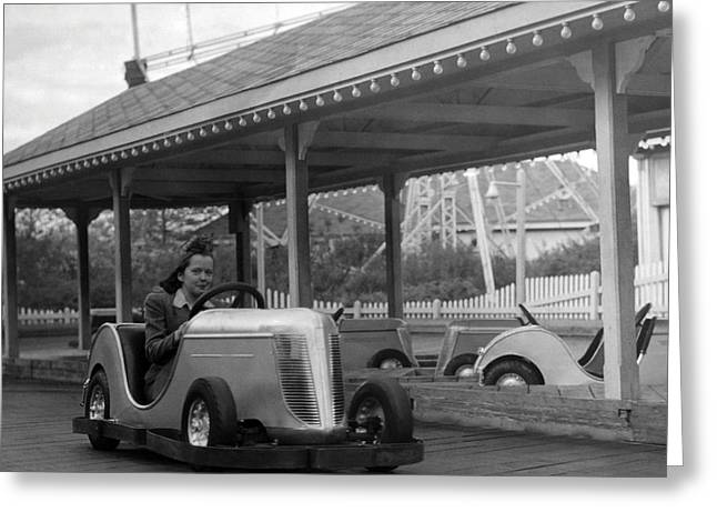 Ride Greeting Cards - Coney Island - Bumper Cars Greeting Card by MMG Archives