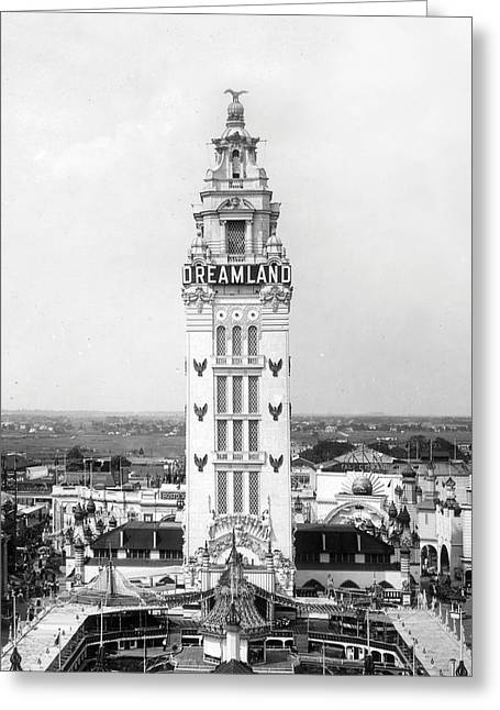 Amusement Park Greeting Cards - Coney Island - Dreamland Park Tower Greeting Card by MMG Archives