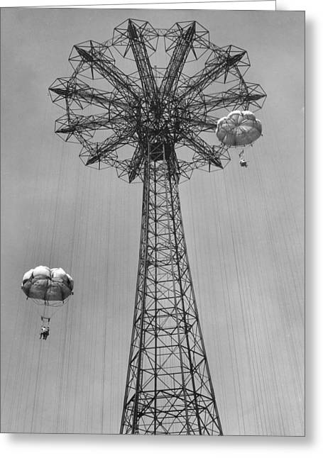 Amusement Park Greeting Cards - Coney Island - Parachute Jump 1 Greeting Card by MMG Archives