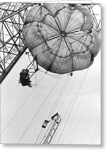 Amusement Park Greeting Cards - Coney Island - Parachute Jump 2 Greeting Card by MMG Archives