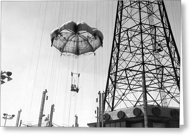 Coney Island - Parachute Jump Ride Greeting Card by MMG Archives