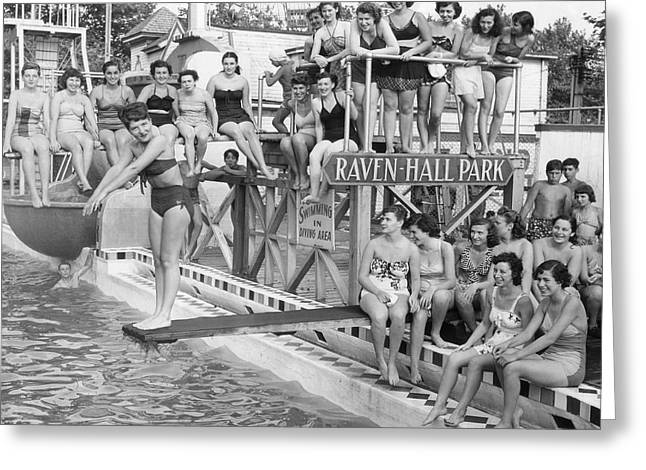 Sunbathing Greeting Cards - Coney Island - Pool Side at Raven-Hall Park Greeting Card by MMG Archives