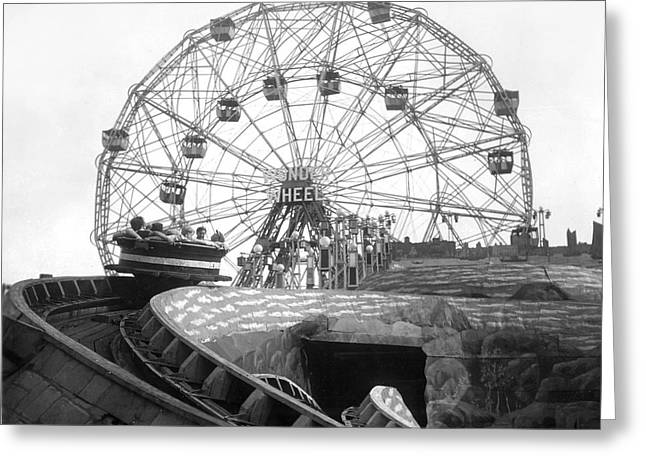 Amusements Greeting Cards - Coney Island - Wonder Wheel Greeting Card by MMG Archives
