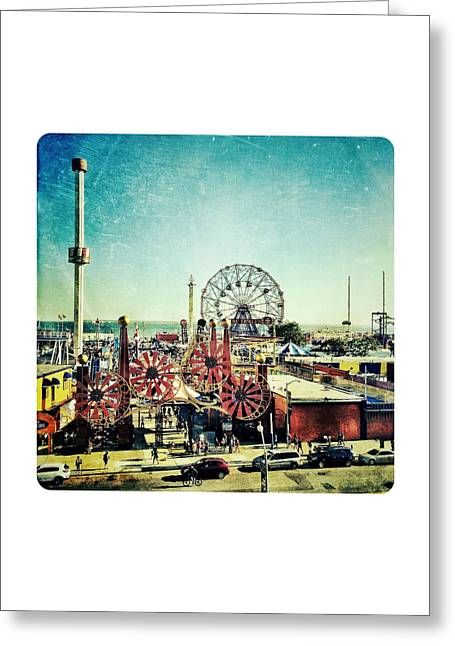 Amusements Digital Art Greeting Cards - Coney Island Amusement Greeting Card by Natasha Marco