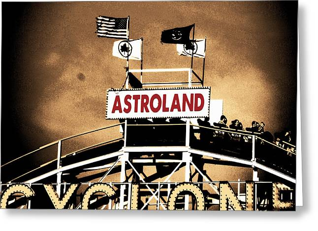 Amusements Mixed Media Greeting Cards - Coney Island Cyclone Greeting Card by Marilu Windvand