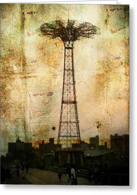 Coney Island Eiffel Tower Greeting Card by Jon Woodhams