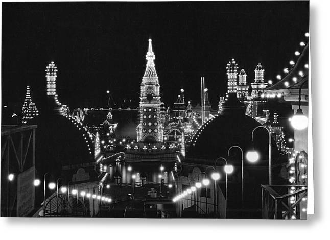 Coney Island Greeting Cards - Coney Island - Nighttime Roller Coaster Greeting Card by MMG Archives