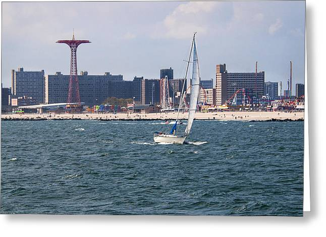 Boating Greeting Cards - Coney Island Sailing Greeting Card by Alida Thorpe