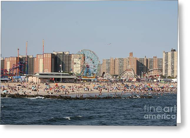 Coney Island Seen From The Pier Greeting Card by John Telfer