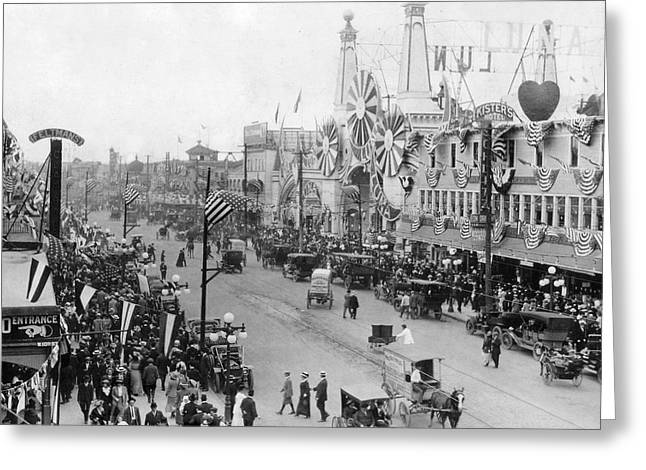 Amusement Park Greeting Cards - Coney Island Street and Luna Park Greeting Card by MMG Archives