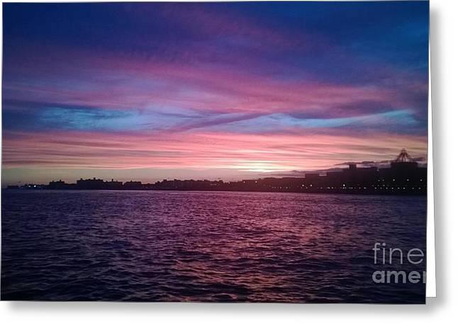 Coney Island Summertime Sunset Greeting Card by John Telfer