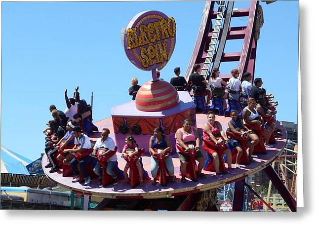 Whee Greeting Cards - Coney Island The Electric Spin Greeting Card by Carolyn Quinn