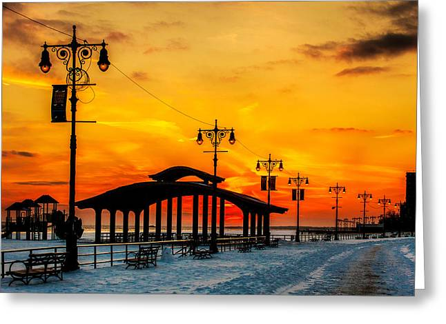 Recently Sold -  - Streetlight Greeting Cards - Coney Island Winter Sunset Greeting Card by Chris Lord