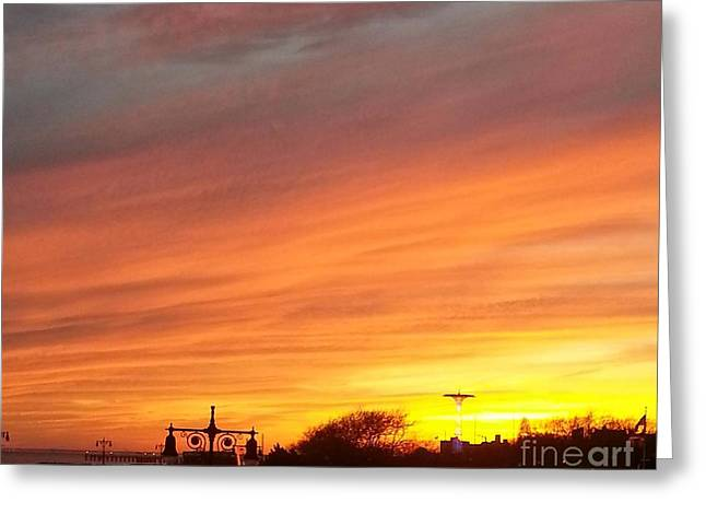 Layer Greeting Cards - Coney Island Winter Sunset Greeting Card by John Telfer