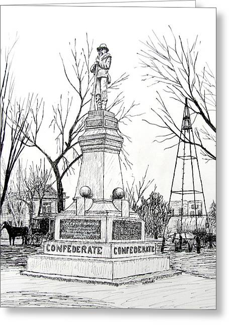 Arkansas Drawings Greeting Cards - Confederate Monument in Bentonville Arkansas Greeting Card by Ron Enderland