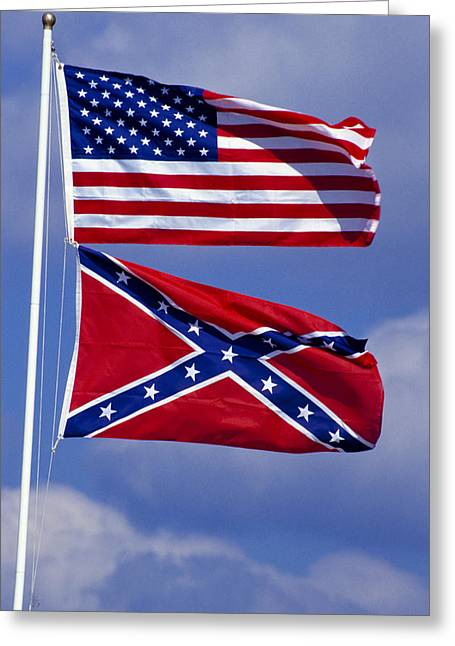 Confederate Flag Photographs Greeting Cards - Confederate And U.S. Flags. Greeting Card by Anonymous