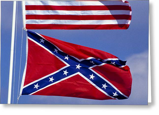 Confederate And U.S. Flags. Greeting Card by Anonymous
