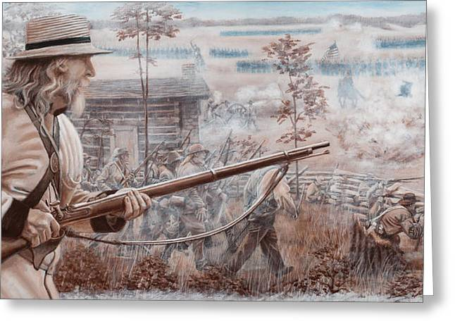 Infantryman Paintings Greeting Cards - Confederate at Chickamauga Greeting Card by Alton  w Williams