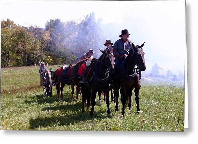 Americans Tapestries - Textiles Greeting Cards - Confederate Caisson and Cannon - Perryville KY Greeting Card by Thia Stover