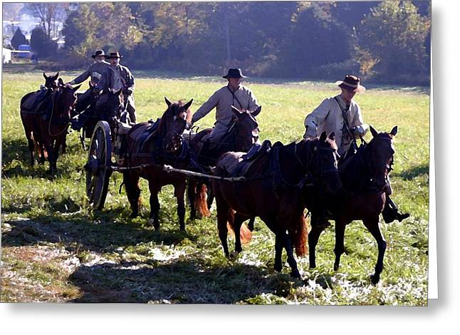 Afternoon Battle Greeting Cards - Confederate Caisson Convoy - Perryville KY Greeting Card by Thia Stover
