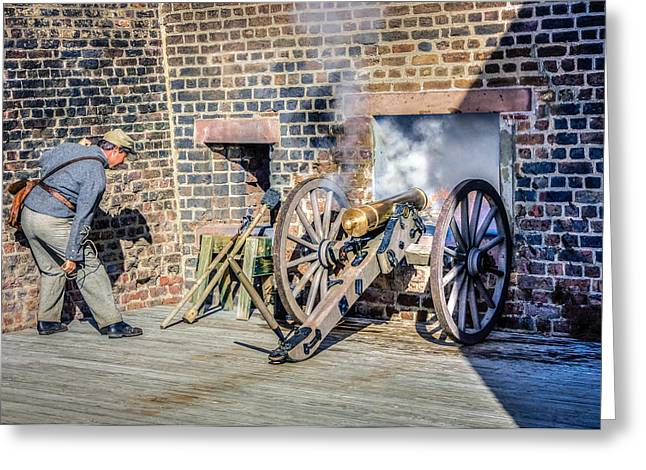 Historical Re-enactments Digital Art Greeting Cards - Confederate Cannoneer Greeting Card by Rob Sellers