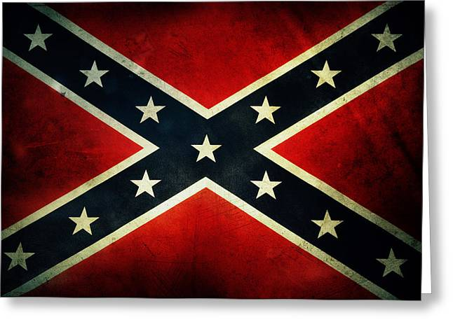 Textures Greeting Cards - Confederate flag Greeting Card by Les Cunliffe