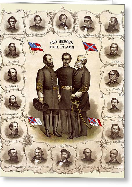 Confederate Generals And Flags Greeting Card by Daniel Hagerman