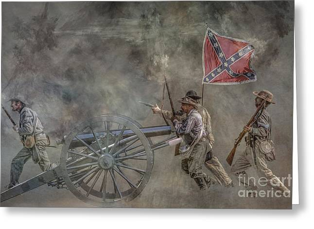 Confederate Digital Art Greeting Cards - Confederate Infantry Charge Civil War Greeting Card by Randy Steele