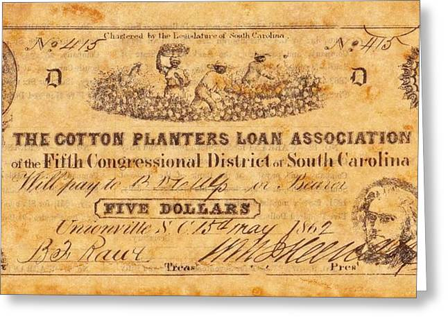 Funds Mixed Media Greeting Cards - Confederate Money 10 Greeting Card by Todd and candice Dailey
