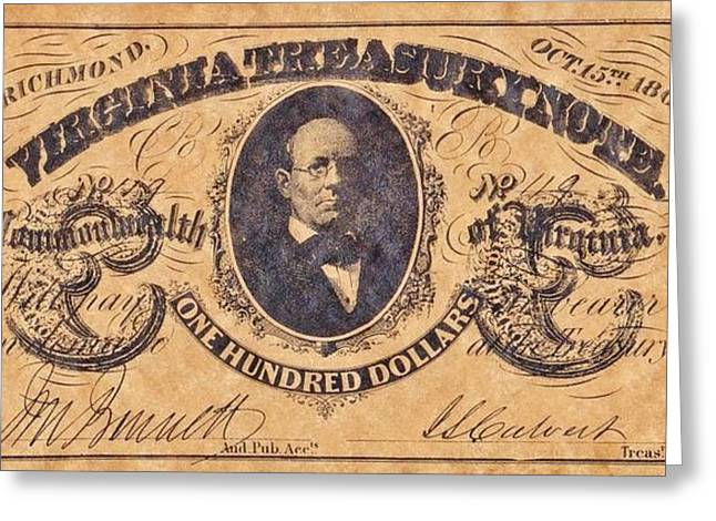 Funds Mixed Media Greeting Cards - Confederate Money 5 Greeting Card by Todd and candice Dailey