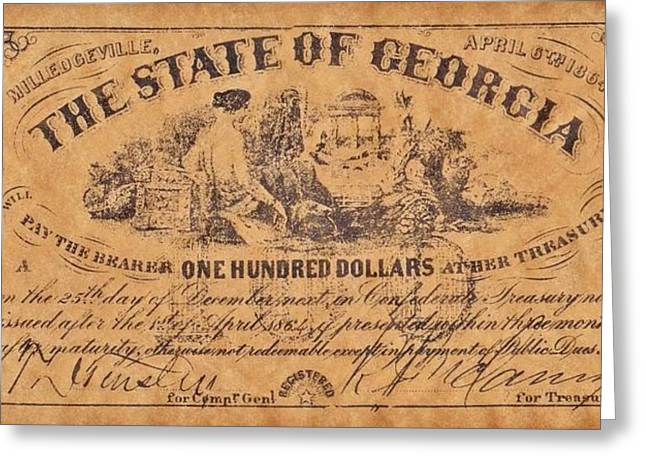 Funds Mixed Media Greeting Cards - Confederate Money 7 Greeting Card by Todd and candice Dailey