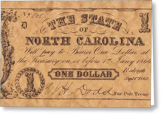 Funds Mixed Media Greeting Cards - Confederate Money 8 Greeting Card by Todd and candice Dailey