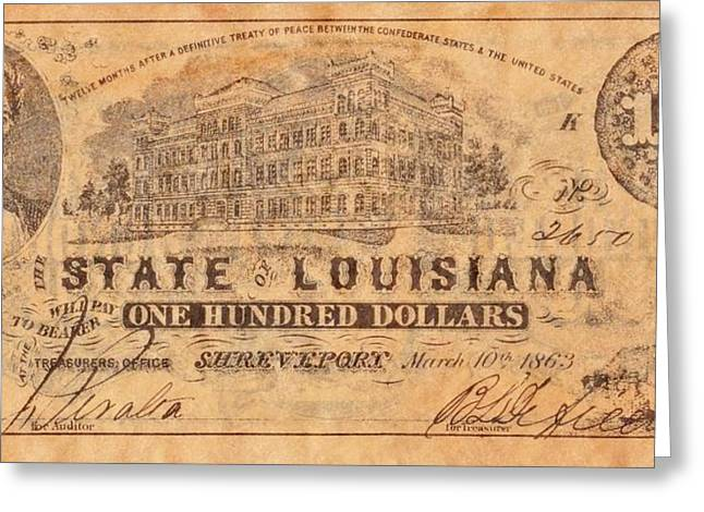 Funds Mixed Media Greeting Cards - Confederate Money 9 Greeting Card by Todd and candice Dailey