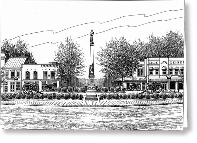 Pen And Ink Drawing Of Franklin Tennessee Greeting Cards - Confederate Monument in Franklin TN Greeting Card by Janet King
