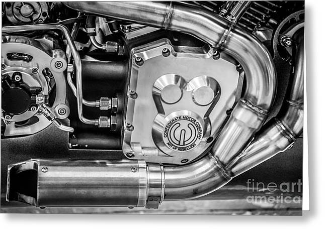 Two Bikes Greeting Cards - Confederate Motorcycle B120 Wraith Engine and Exhaust Pipe - Black and White Greeting Card by Ian Monk