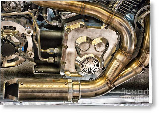 Multi-engine Greeting Cards - Confederate Motorcycle B120 Wraith Engine and Exhaust Pipe Greeting Card by Ian Monk
