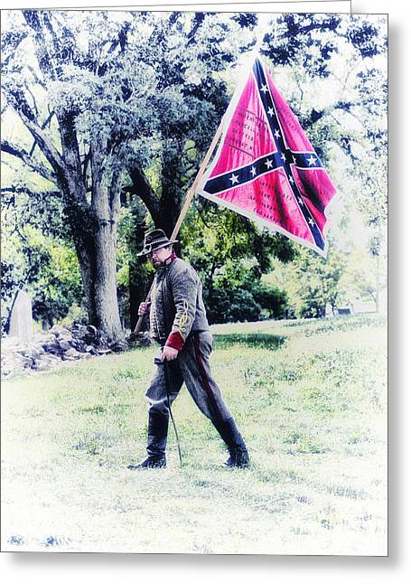 Confederate Digital Art Greeting Cards - Confederate Soldier Greeting Card by Bill Cannon